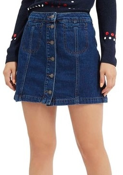 3c3c7ea5b3 Denim skirts come in a variety of styles and lengths to suit different  populations and occasions. For example, full-length denim skirts are  commonly worn by ...